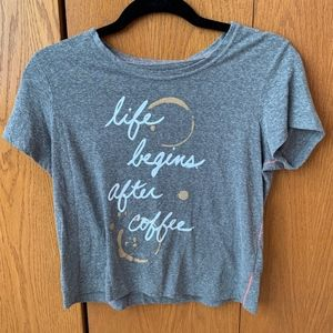"""""""Life Begins After Coffee"""" Aeropostale Graphic Tee"""